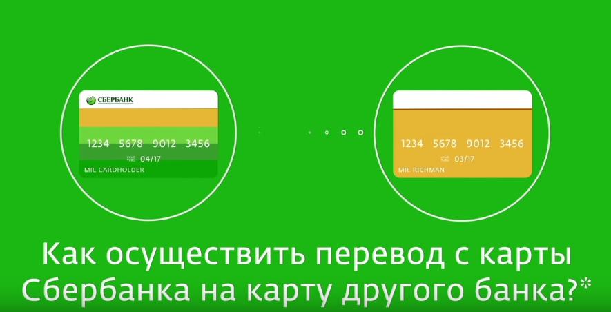 Как сделать перевод с одной карты сбербанка на другую карту другого банка